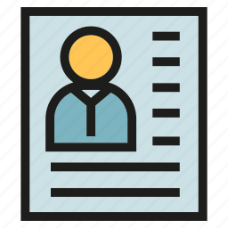 cv, document, human resource, job application, profile, resume icon