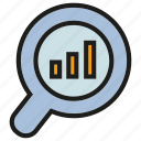 analysis, analytics, bar chart, chart, graph, magnifier, stats icon