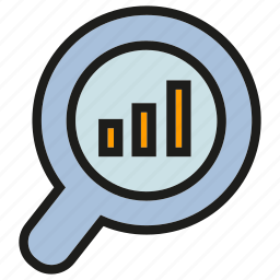 analysis, analytics, bar chart, chart, graph, magnifier, stats icon