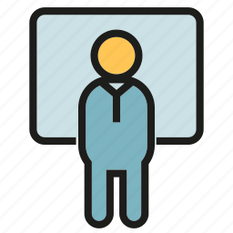 leader, office, people, presentation, whiteboard icon