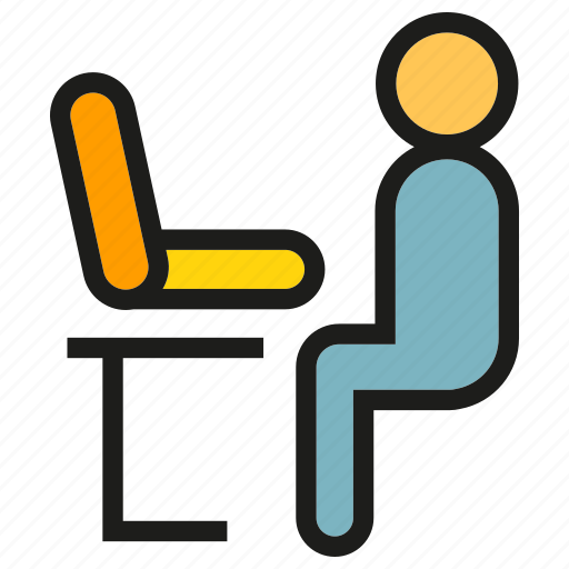 computer, laptop, office, people, sitting, worker icon