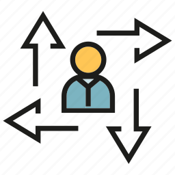 arrow, center, direction, management, office, organization, people icon