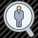 human resource, job, magnifier glass, people, recruiting, recruitment, search