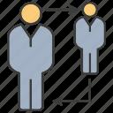 allocate, arrow, man, people, promotion, rotate