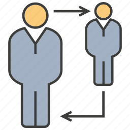 allocate, arrow, man, people, promotion, rotate icon