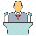 boss, business, conference, leader, podium, speaker, talk icon
