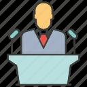 boss, business, conference, leader, podium, speaker, talk