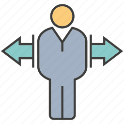 decision, direction, left, man, people, right icon
