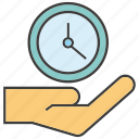 clock, hand, hold, time, time management