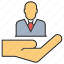 employee, hand, hold, human resource, manpower, people icon