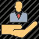 employee, hand, hold, human resource, manpower, people