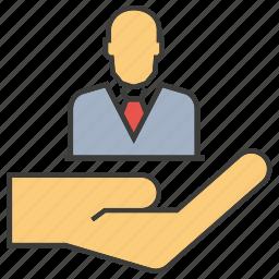 employee, hand, hold, human resource, manpower, people icon