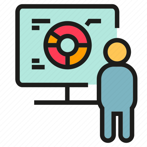 monitor, people, pie chart, presentation icon