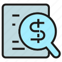 agreement, contract, document, finance, magnifier, money, paper icon