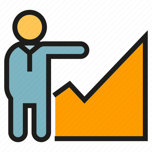chart, graph, growth, people, presentation icon
