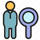 human resource, magnifier, manpower, people, recruitment, search icon