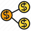 connection, dollar, fund, link, money, network icon