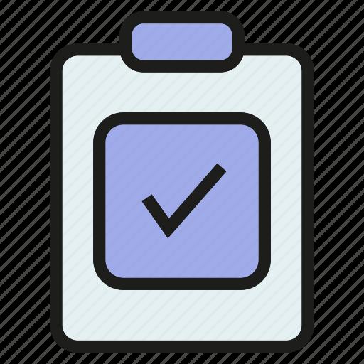 check mark, clipboard, document, file, paper, tick icon