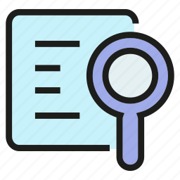 document, job application, magnifier, paper, search icon