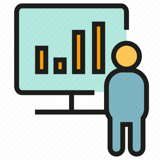 bar chart, chart, graph, office, people, presentation icon