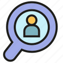 human resource, magnifier, people, recruitment, search icon