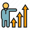 arrow, business, chart, graph, growth, people, presentation icon