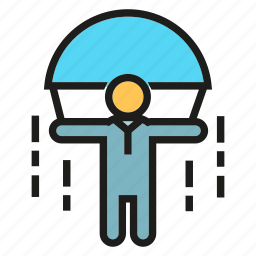 jump, parachute, people, risk icon