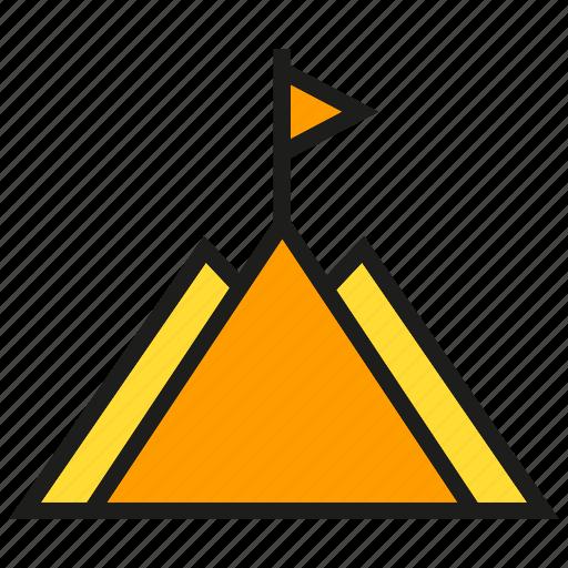 achievement, flas, goal, height, mountain, success icon