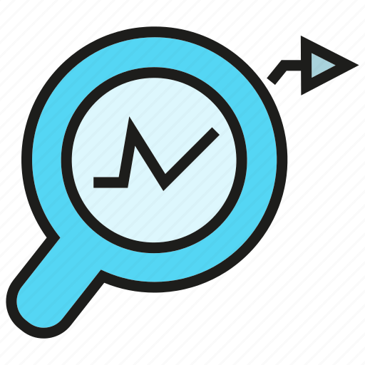 analytics, chart, data, graph, magnifier, search icon