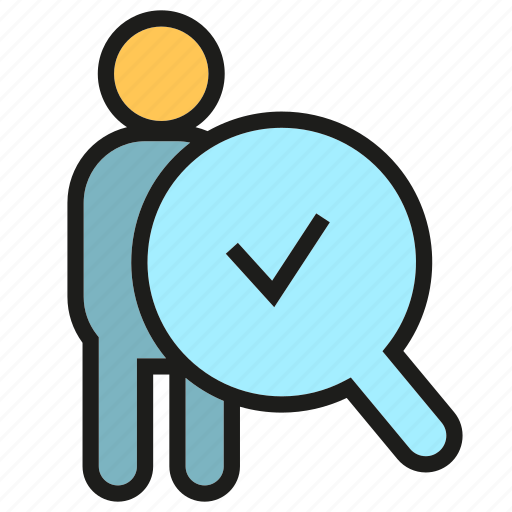 approve, check, magnifier, pass, people, tick icon
