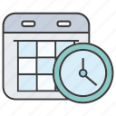 calendar, clock, date, plan, schedule, table, time icon