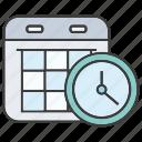 calendar, clock, date, plan, schedule, table, time