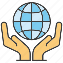 global, globe, hand, hold, world, world wide icon