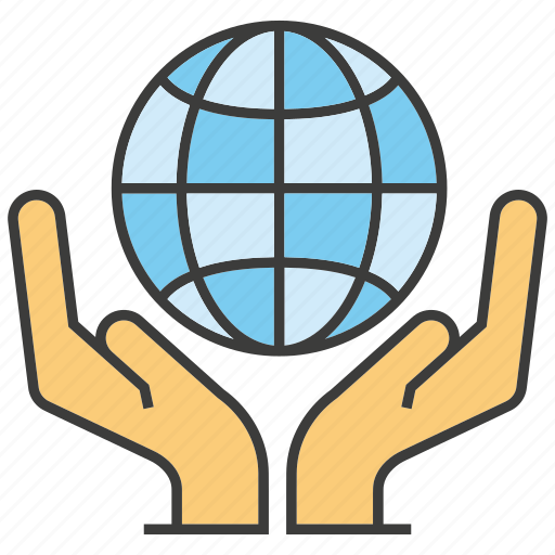 global, globe, hand, hold, world, world wide icon