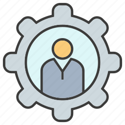 cog, gear, man, manpower, people icon