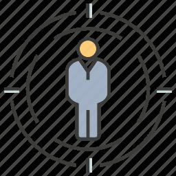 focus, man, people, target icon