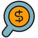 currency, finance, magnifier, money, search icon