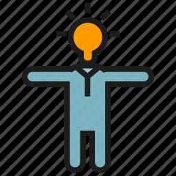 bulb, creative, ida, light, man, people, thinker icon