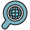 globe, magnifier, search, world icon