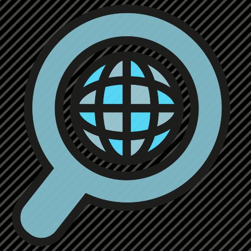 globe, magnifier, search, world icon