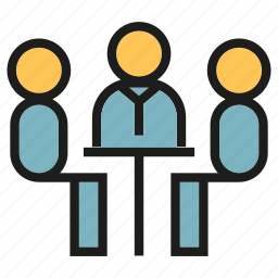 business meeting, conference, consulting, meeting, office, people, sitting icon