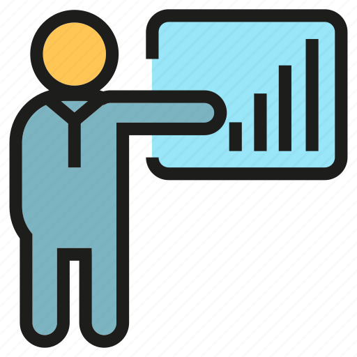 chart, lecture, office, people, presentation, training, worker icon
