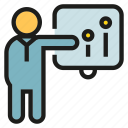 chart, graph, lecture, office, people, presentation, worker icon