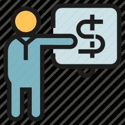 finance, money, office, people, presentation icon
