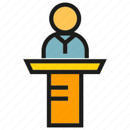 conference, leader, meeting, people, podium, speaker icon