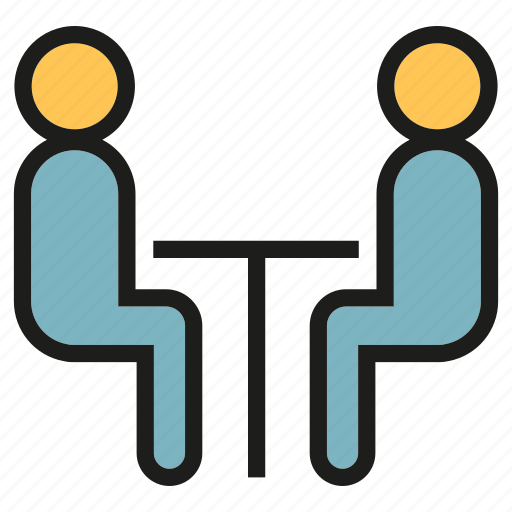 business meeting, colleague, consulting, meeting, people, sitting, workmate icon