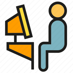 computer, office, people, sitting, worker icon