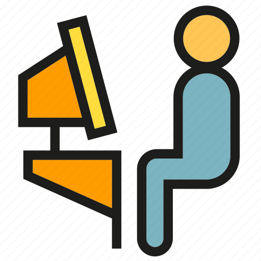 Computer, office, people, sitting, worker icon - Download on Iconfinder