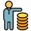 finance, money, people, stack icon