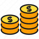 coin, dollar, finance, fund, money, rich, stack icon